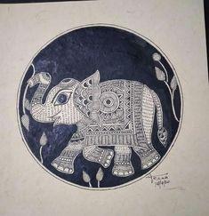 Homemade Greeting Cards, Madhubani Art, Traditional Art, Elephant, Drawings, Artwork, Projects, Diy, Indian