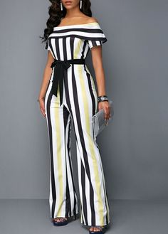 High Waist Overlay Striped off The Shoulder Jumpsuit Jumpsuit Dressy, Striped Jumpsuit, Classy Outfits, Chic Outfits, Fashion Outfits, Latest African Fashion Dresses, Overall, African Dress, Jumpsuits For Women
