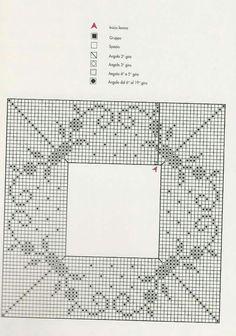 Crochet Doily Diagram, Crochet Squares, Filet Crochet, Crochet Motif, Crochet Doilies, Crochet Lace, Crochet Patterns, Crochet Tablecloth, Crotchet