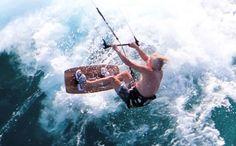 Life begins at 60! Richard Brandson kitesurfing off Necker Island.
