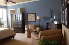 Sherwin Williams Bracing Blue (6242) and Latte (6108) paint for the master bedroom and bathroom.
