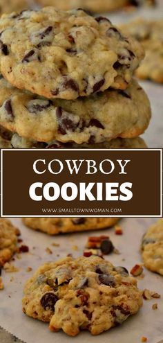 Cowboy Cookies are yummy treats filled with chocolate chips, oatmeal and chopped pecans. Slightly crispy on the outside and a little chewy on the inside. Easy Cookie Recipes, Cookie Desserts, Baking Recipes, Dessert Recipes, Gourmet Desserts, Plated Desserts, Sweet Recipes, Oatmeal Chocolate Chip Cookies, Chocolate Chips