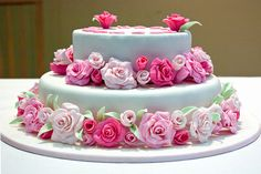 Pink rose birthday cake by Rexness, via Flickr