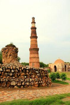 Qutub Minar and the Iron Pillar at Qutub Complex