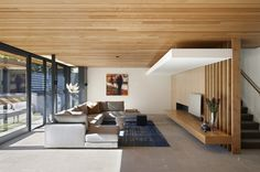 Nice living room with wooden ceiling