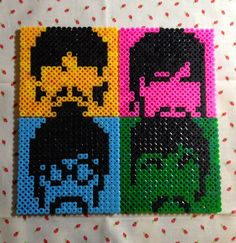 The Beatles coasters hama beads by Irema Diadema Melty Bead Designs, Melty Bead Patterns, Pearler Bead Patterns, Perler Patterns, Beading Patterns, Perler Beads, Perler Bead Art, Fuse Beads, Beatles