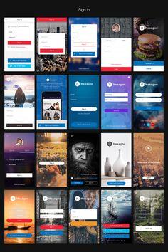 Hexagon iOS 8 Mobile UI Kit by Best UI on @creativemarket