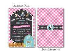Farm Barnyard Birthday Invitation-Country Girl Invitation-Printable PDF JPEG High Resolution File-Customizable-4X6 5X7