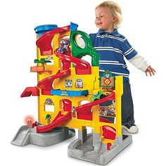 Oakland already has something similar to this. But any Little People cars sold seperately, he might really like. Did I say he is really into imagative play? Fisher-Price Little People Wheelies Stand 'n Play Rampway Toys R Us, Toys For Boys, Kids Toys, Children Playroom, Playroom Ideas, Brinquedos Fisher Price, Fisher Price Toys, Top Toys, Old Boys
