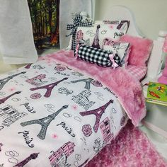Girl Doll Bedding for 18 in Doll 5pc Decorative Pillows n