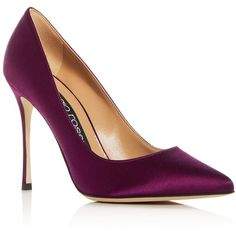 Sergio Rossi Women's Godiva Satin Pointed Toe Pumps (40,530 INR) ❤ liked on Polyvore featuring shoes, pumps, aubergine purple, satin pumps, satin shoes, pointed-toe pumps, sergio rossi shoes and pointy-toe pumps