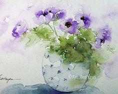 Mixed Bouquet in Glass Jar Print of Watercolor door RoseAnnHayes