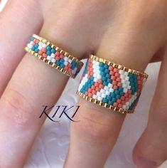 "Kiki on Instagram: ""New ring set - geometric braid design #beaded #ring #geometric #golden #ethnic #inspired #beaded #beadwork #peyote #mydesign #unique…"""
