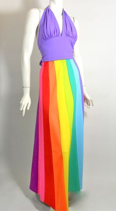 1970s DeWeese beach halter and rainbow skirt set (Repinned)