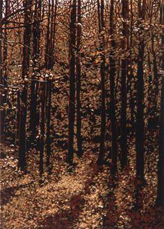 """Lucent Grove"" Linocut Print by William H. Hays, The Artist's Loft, Brattleboro, Vermont Linocut Prints, Art Prints, Block Prints, Linoleum Block Printing, Landscape Paintings, Landscapes, Landscape Art, Wood Engraving, Woodblock Print"
