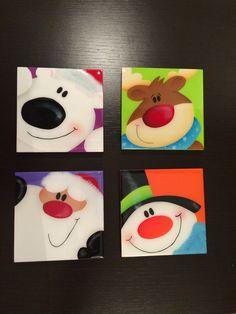 Porta vasos pintados a mano y resinados, Navidad Projects For Kids, Crafts For Kids, Diy Crafts, Santa Canvas, Winter Christmas, Holiday, Christmas Projects, Pattern Paper, Noel