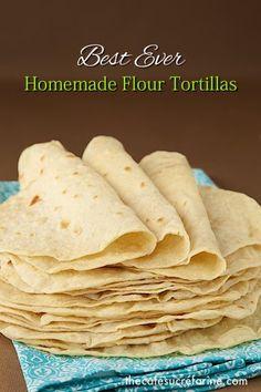 Homemade Flour Tortillas Need: 3 C flour; 1 tsp salt; 1 tsp baking powder; ⅓ C veg oil; 1 C warm water.