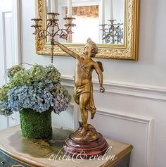 Gorgeous Huge Brass Angel Statue Candelabra on Wood Base, Three Arm