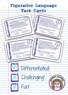 Figurative language paragraph cards: Seven types of figurative language (simile, metaphor, idiom, personification, hyperbole, alliteration, and onomatopoeia) with two levels of difficulty! Perfect for centers and test prep.  $
