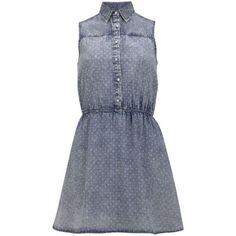 Neon Rose Women's Spot Denim Shirt Dress - Denim (270 MXN) ❤ liked on Polyvore featuring dresses, vestidos, robes, short dresses, denim, denim shirt dress, polka dot dress, shirt dress and denim skater dress