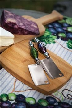 """IWVCBC 8.5"""" x 6.5"""" x 2"""" The Vintner's Cottage Bamboo Cutting Board/Knife                                                         vineyard decor"""
