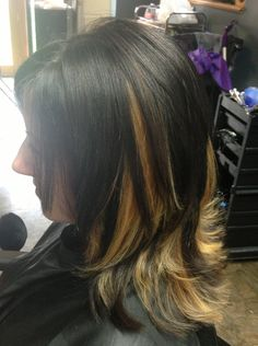 More hair color fun! Dark brown with blonde chunky peekaboo highlights!! Love doing color and love my clients...;)