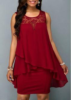 a9cb82733c0 Lace Panel Wine Red Chiffon Overlay Dress