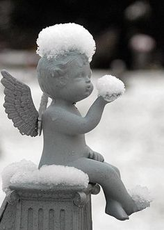 """snowy cherub."""" Let it snow, let it snow, let it snow"""" I'm not cold, I'm stoned cold !"""