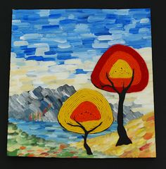 that artist woman: Yarn Painted Trees cereal box cardboard, paint, yarn, black paper, glue
