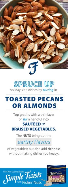 A Simple Tip with Fisher Nuts from Jones Guarnaschelli Food Network Recipes, Cooking Recipes, Broccoli Fritters, Iron Chef, Holiday Side Dishes, Alex Jones, Toasted Pecans, Mixed Nuts, Yummy Snacks
