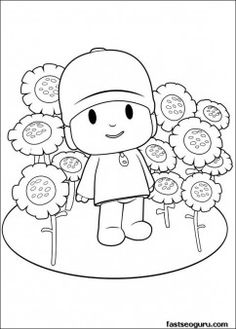 Printable coloring pages for kids Pocoyo with flowers - Printable Coloring Pages For Kids