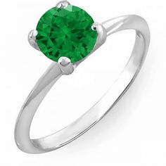 1.00 Carat (ctw) 10K White Gold Round Green Emerald Ladies Bridal Engagement Solitaire Ring 1 CT. An outstanding collection of Diamond Jewelry at great prices from Dazzling Rock.