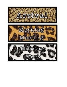 Jungle themed schedule cards in animal print! Love, love, love!