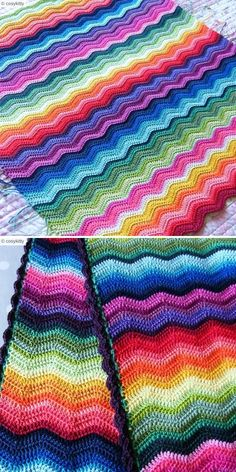 When I look at this amazing blanket, I immediately think stained glass! Although this pattern doesn't feature any pictorial motifs, simple combination of vibrant hues with black makes me think of chapels' windows. Crochet Ripple, Afghan Crochet Patterns, Double Crochet, Crochet Stitches, Free Crochet, Stitch Patterns, Ripple Afghan, Popular Crochet, Crochet Instructions
