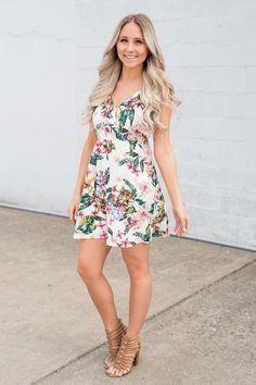 Sunset Beach Surplice Open Back Self Tie Strap Detail Floral Dress (Off White)