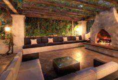 Celebrity Fireplace Inspiration: Hilary Duff's romantic entertaining area http://www.mantelsdirect.com/mantel-blog/Celebrity-Fireplace-Inspiration