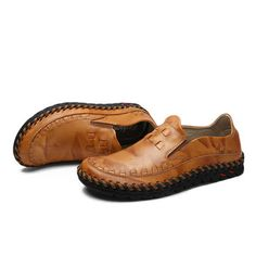Men Casual Leather Business Shoes Comfortable Round Toe Flat Shoes