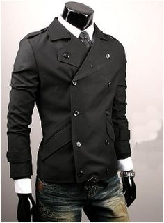 gotta admit i'd love to see my man in this... not with those damn jeans, though.   Men's Black Double Breasted Jacket