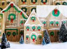 "Make a Gift Bag Village on Etsy - This has many year-round applications: School diorama projects, any seasonal village decorations, rainy-day ""inside"" activities. Kids Painting Projects, Painting For Kids, Christmas Bags, Christmas Crafts, Christmas Ideas, Holiday Ideas, Christmas Time, Christmas Decorations, How To Make A Gift Bag"