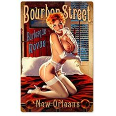 Amazon.com: Bourbon Street Pinup Girls Vintage Metal Sign - Victory Vintage Signs: Home & Kitchen