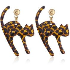 Brown Leopard Small Paved Cat Stud Drop Earrings (€2,63) ❤ liked on Polyvore featuring jewelry, earrings, brown stud earrings, leopard earrings, stud earrings, cat stud earrings and drop earrings