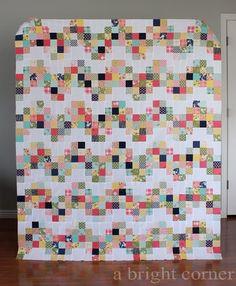 A Bright Corner Blog Little Miss Sunshine quilt pattern is Electric Avenue block