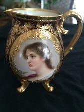 "Royal Vienna, 4"" Footed Creamer, Gold decor, Beautiful woman, signed #36088"
