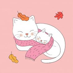 Cartoon cute Autumn mom and baby cat sleeping together vector. Kawaii Illustration, Illustration Mignonne, Cute Baby Sleeping, Cat Sleeping, Cartoon Cartoon, Sleeping Drawing, Photo Chat, Cat Room, Sleepy Cat