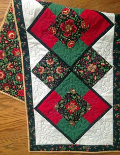 Quilted Table Runner Green Red Gold Black & by MulberryPatchQuilts