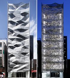 a folding geometric facade makes this building by japanese architecture firm amano design office stand out from its neighbors. located on a back street in ginza, tokyo, Architecture Design, Japanese Architecture, Facade Design, Amazing Architecture, Exterior Design, Exterior Colors, Building Exterior, Building Facade, Building Design