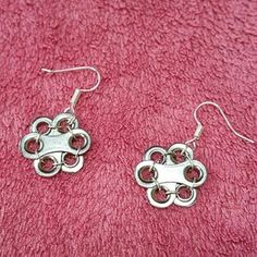 "Items similar to Upcycled bicycle chain earrings ""Freya's spring flowers"" on Etsy Bicycle Crafts, Bike Craft, Bicycle Art, Recycled Bike Parts, Urban Jewelry, Hardware Jewelry, Recycled Jewelry, Beaded Jewelry Patterns, Chain Earrings"