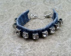 Denim bracelet recycled jeans denim bangle por RepurposedRelicsTX