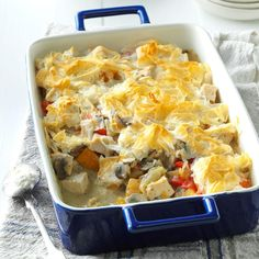 Company Turkey Potpie Recipe -Here's our smart spin on potpie, filled with turkey, autumn vegetables and a creamy herb sauce. Best of all, there's no crust to make—just top with prepared phyllo dough. —Taste of Home Test Kitchen