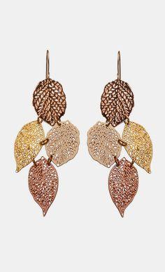 rose gold 24 karat plated earringsstatement leaf